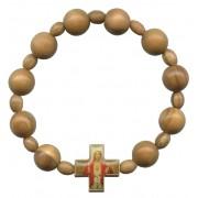Elastic Olive Wood Bracelet with Sacred Heart of Jesus mm.10