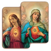 """Sacred Heart of Jesus/ Immaculate Heart of Mary 3D Bi-Dimensional Cards cm.5.5x8.2- 2 1/8""""x 3 1/4"""""""
