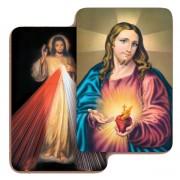 "Sacred Heart of Jesus/ Divine Mercy 3D Bi-Dimensional Cards cm.5.5x8.2- 2 1/8""x 3 1/4"""