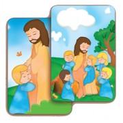 "Jesus with Children 3D Bi-Dimensional Cards cm.5.5x8.2- 2 1/8""x 3 1/4"""