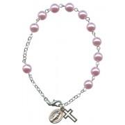 Imitation Pearl Rosary Bracelet Pink mm.7 RBN7-6