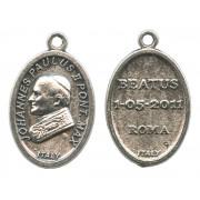 """Pope John Paul II Oval Oxidized Medal mm.22- 7/8"""""""