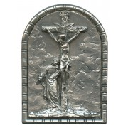 """Crucifixion Pewter Picture Free Standing cm.5.5x4 - 2 1/4""""x 1 5/8"""""""
