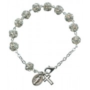 Strass Rosary Bracelet Crystal Silver Plated mm.8