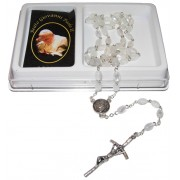 Pope John Paul II Imitation Mother of Pearl Rosary mm.6x8 Simple Link White (1555-02)