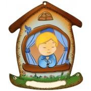 """La plaque en forme de maison avec un enfant cm.10.5x12.5- 4 """"x5"""""""