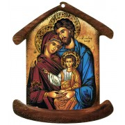 """La plaque en forme de maison avec la famille sainte icône cm.10.5x12.5- 4 """"x5"""""""