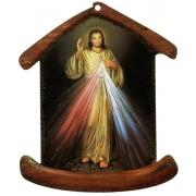"""La plaque en forme de maison avec la Divine Miséricorde cm.10.5x12.5- 4 """"x5"""""""