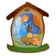 """Aimant en forme de maison avec ange gardien cm.5.5x6.6 - 2 1/4 """"x 2 5/8"""""""