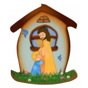 """Jesus with Child House Shaped Magnet cm.5.5x6.6- 2 1/4""""x 2 5/8"""""""