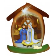 "Nativity House Shaped Magnet cm.5.5x6.6 - 2 1/4"" x 2 5/8"""