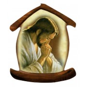 "Jesus Praying House Shaped Magnet cm.5.5x6.6 - 21/4"" x 2 5/8"""