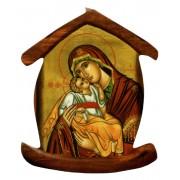 """Imán con forma de casa con el icono de la Madre y el Niño cm.5.5x6.6 - 2 1/4 """"x 2 5/8"""""""