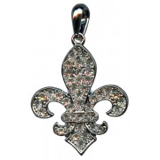 "Silver Plated Fleur de Lis Pendant with Clear Crystals cm.3.3- 1 1/4"""