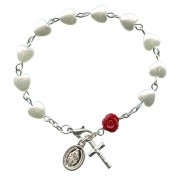 Heart Shaped Pearl Rosary Bracelet with a Red Rose