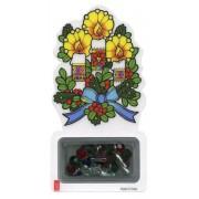 Candle Laminated Bookmark with Christmas Rosary Bracelet