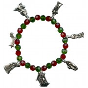 Christmas Charm Bracelet with Red and Green Beads