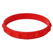 Bracelet chapelet en silicone élastique dans la couleur rouge