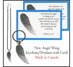 Angel Wing Pendant / Keychain with Card