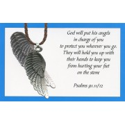 Angel wing pendant with Brown Braided Leather cord and an English Card