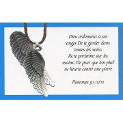 Angel wing pendant with Brown Braided Leather cord and an French Card