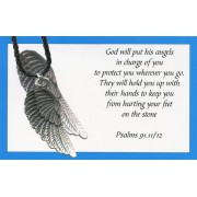 Angel wing pendant with Black Braided Leather cord and an English Card