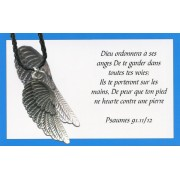 Angel wing pendant with Black Braided Leather cord and an French Card