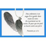 Angel wing pendant with White Braided Leather cord and an French Card