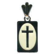 White Backed Cross Pendent