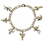 Gold Plated 7 Cupid Charm Bracelet with Gift Box