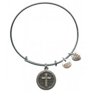 Silver Plated Bracelet with Dangling Cross & 2 Charms with Gift Box