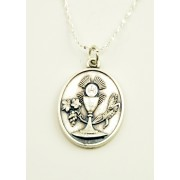 Communion Silver Oxidated Medal + Chain