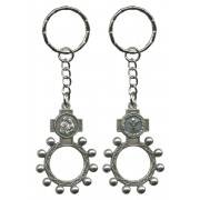 Holy Family and the Holy Spirit Basco Rosary Ring Keychain