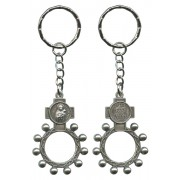 St.Therese and Ora Pro Nobis (Pray for Us) Basco Rosary Ring Keychain