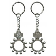 St.Joseph and Ora Pro Nobis (Pray for Us) Basco Rosary Ring Keychain