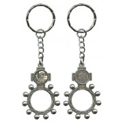 Padre Pio and Ora Pro Nobis (Pray for Us) Basco Rosary Ring Keychain