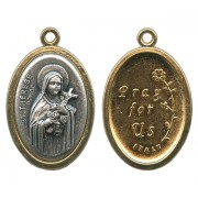 St.Therese / Pray for Us Two Toned Oval Medal