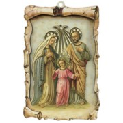 "Holy Family Raised Scroll Plaque cm.10x15 - 4""x6"""