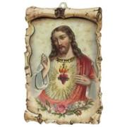 "Sacred Heart of Jesus Raised Scroll Plaque cm.10x15 - 4""x6"""