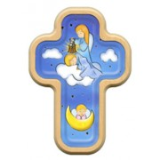 "Guardian Angel Cross with Wood Frame cm.10x14.5 - 4""x5 3/4"""