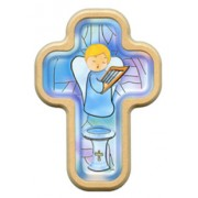 "Boy Guardian Angel Communion Cross with Wood Frame cm.10x14.5 - 4""x5 3/4"""