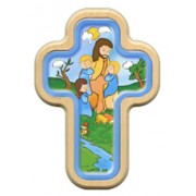 "Jesus with Children Cross with Wood Frame cm.10x14.5 - 4""x5 3/4"""