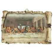 "The Last Supper Raised Scroll Plaque cm.10x15 - 4""x6"""