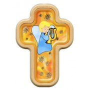 "Boy Guardian Angel and Harp Cross with Wood Frame cm.10x14.5 - 4""x5 3/4"""