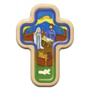 "Nativity Cross with Wood Frame cm.10x14.5 - 4""x5 3/4"""
