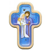 "Holy Family Cross with Wood Frame cm.10x14.5 - 4""x5 3/4"""