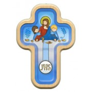 "Dark Blue Communion Cross with Wood Frame cm.10x14.5 - 4""x5 3/4"""