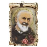 "Padre Pio Raised Scroll Plaque cm.10x15 - 4""x6"""