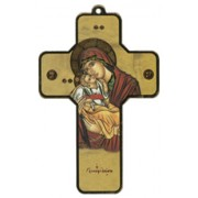 """Icon Mother and Child Wood Laminated Cross cm.13x9 - 5""""x 31/2"""""""