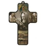 "Padre Pio Wood Laminated Cross cm.13x9 - 5""x 31/2"""
